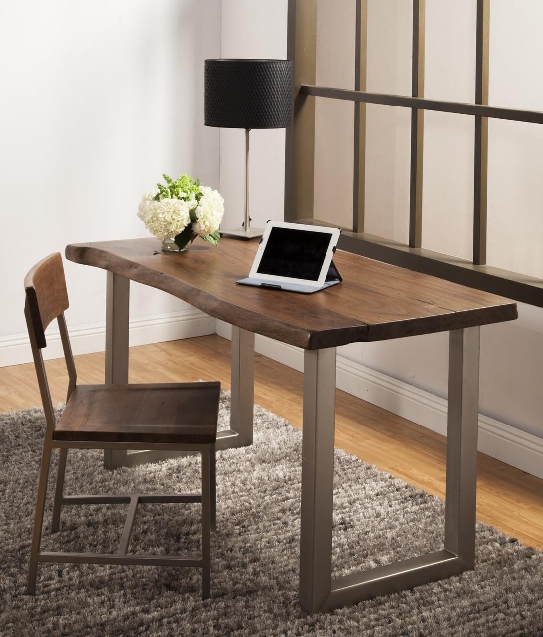 lovely home office desk furniture wood   Montana Solid Wood Metal Leg Desk   Zin Home