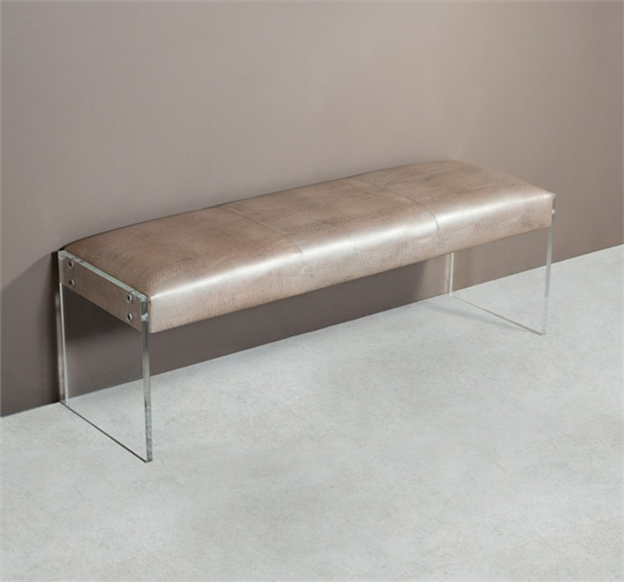 nori champagne lizard leather bench with acrylic legs zin home. Black Bedroom Furniture Sets. Home Design Ideas