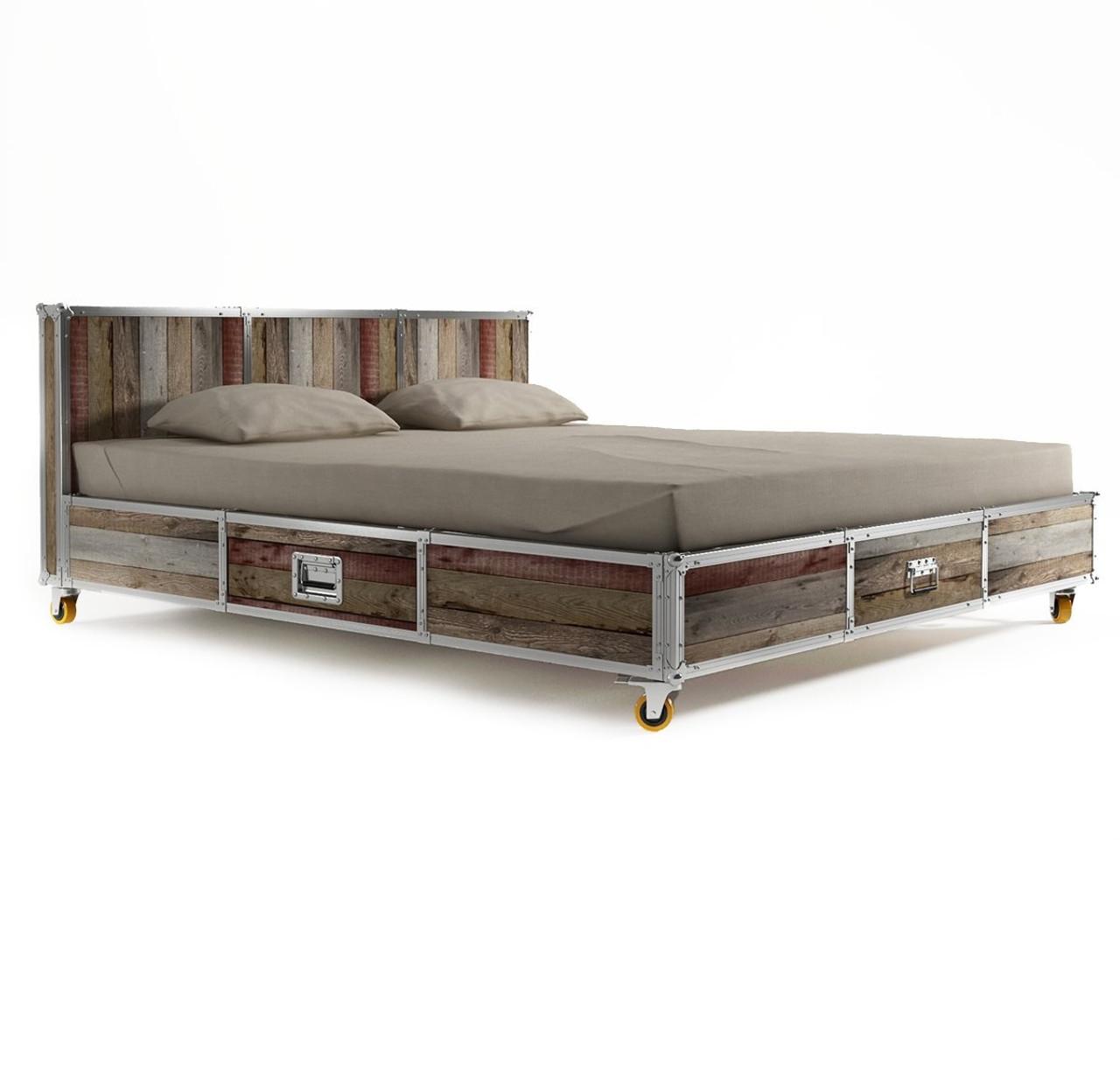 king platform storage bed. Industrial Loft Reclaimed Teak Queen Platform Storage Bed King