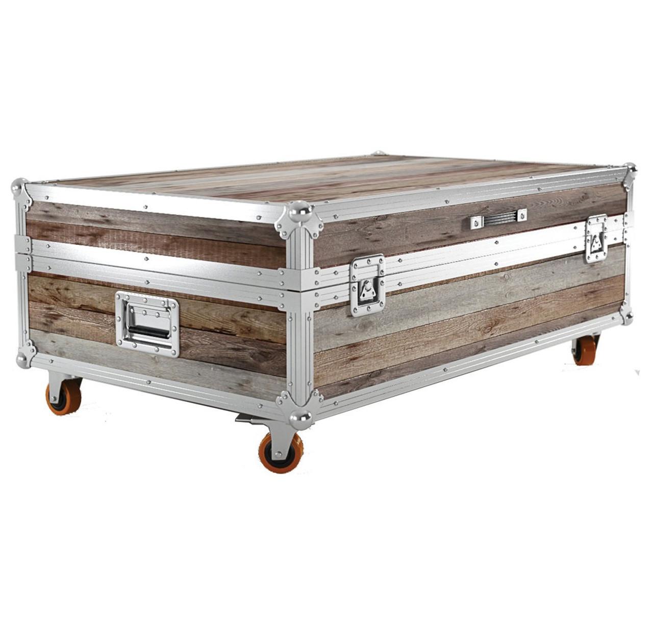 Industrial Reclaimed Teak Wood Large Trunk Coffee Table