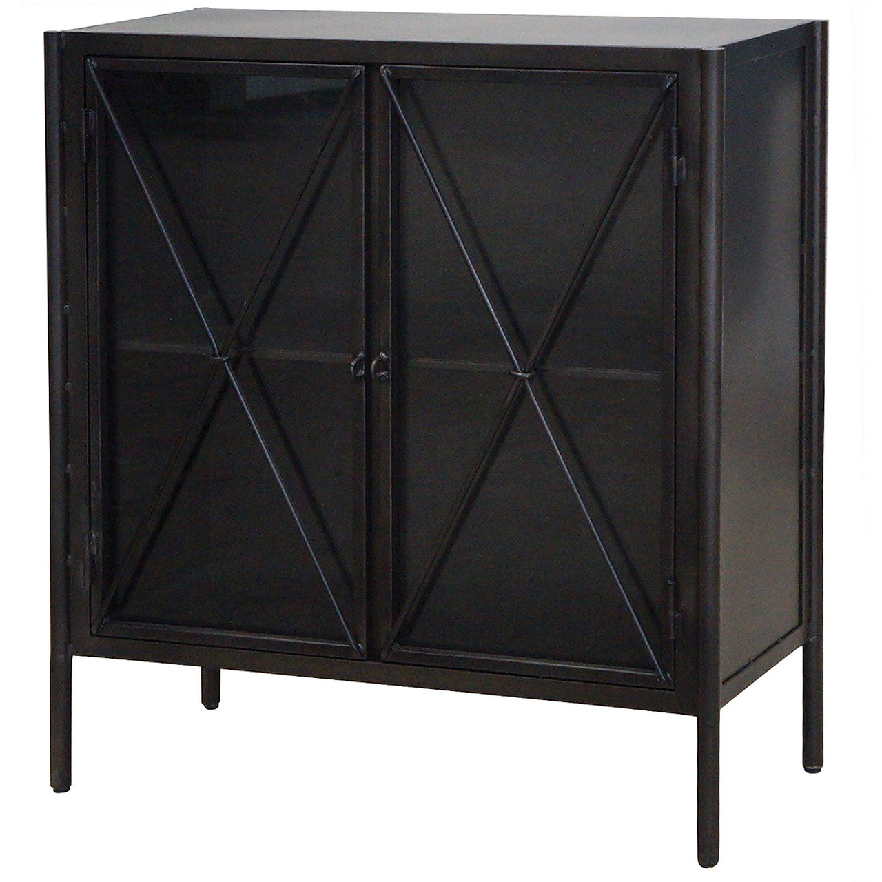 Industrial Aged Black Metal Small Chest With Glass Doors Zin Home