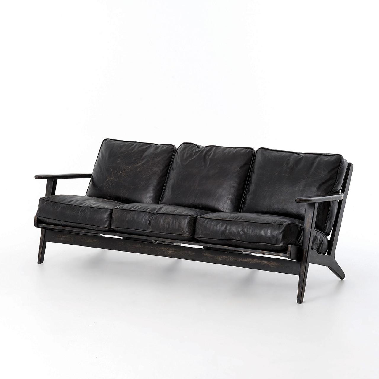 mid century modern leather sofa. Mid-Century Modern Brooks Leather Sofa Mid Century S