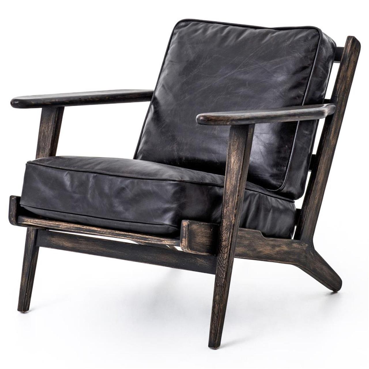 Mid Century Modern Brooks Leather Lounge Chair Zin Home