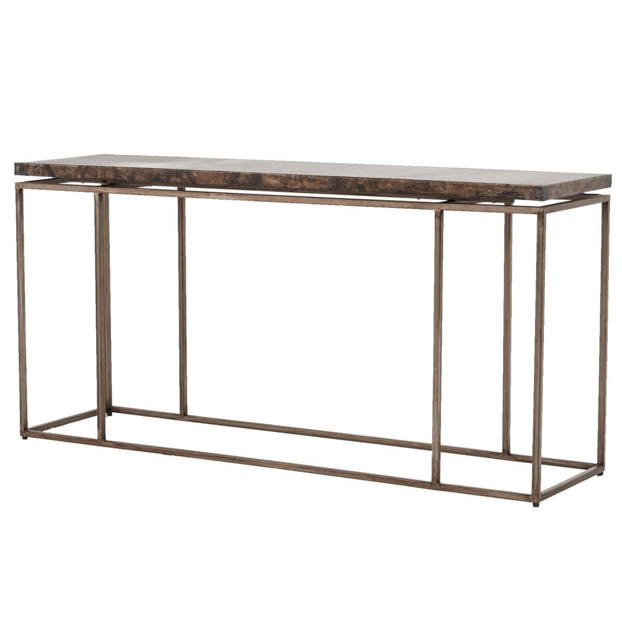 Roman Box Frame Industrial Iron Console Table