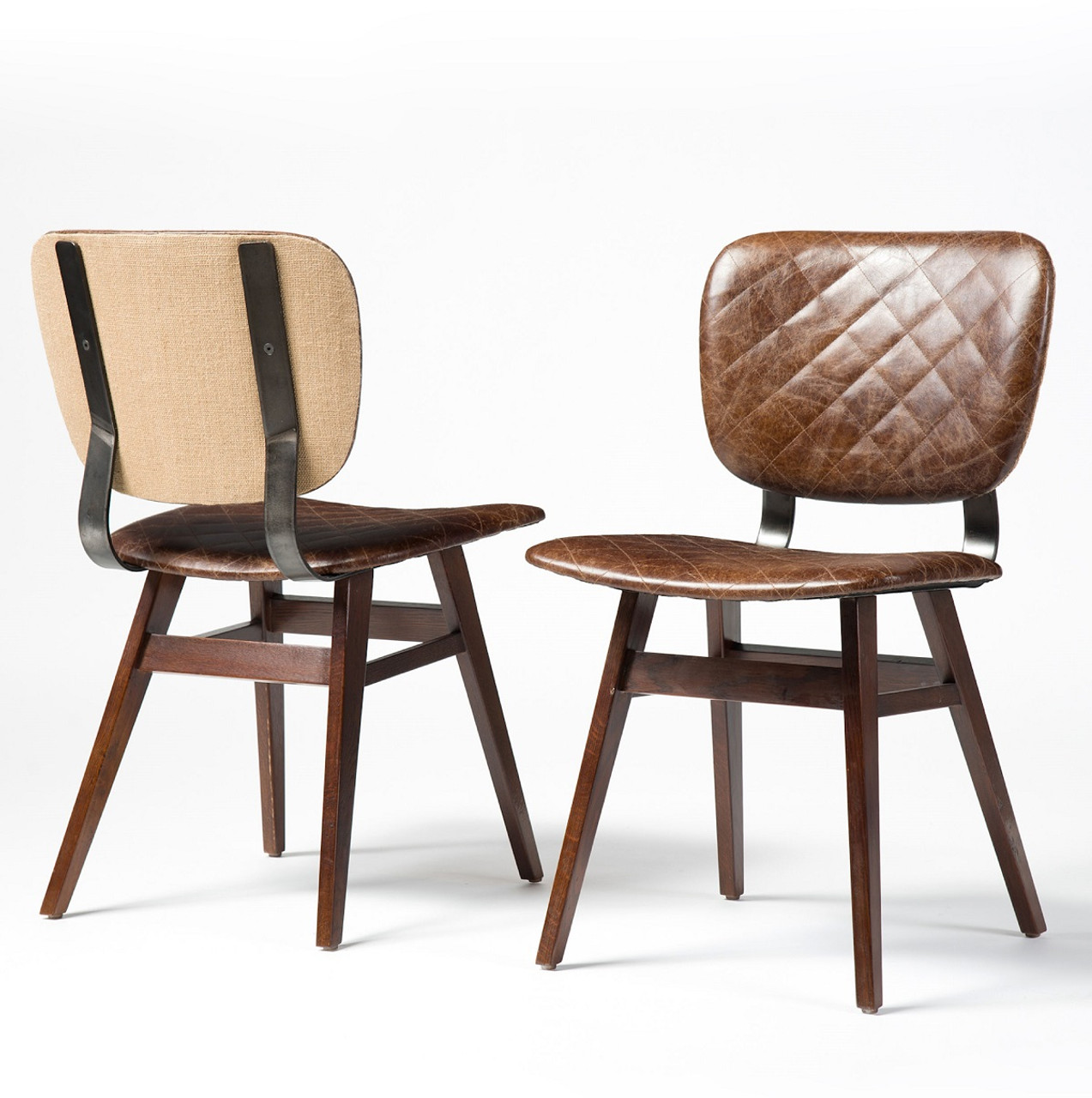 Exceptionnel Sloan Quilted Havana Leather Dining Side Chair