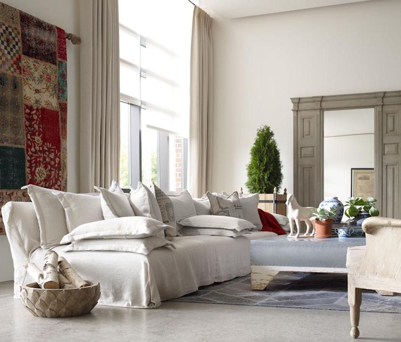 Esquire Bellevueu0027s 12u00275 Linen Upholstered Sofa