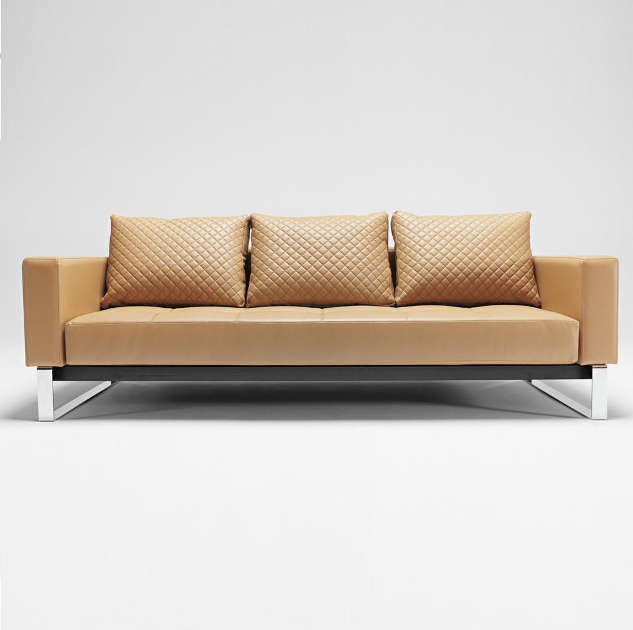 leather sleeper sofa. Cassius Q Deluxe Tan Leather Sleeper Sofa-Chrome Legs Sofa H