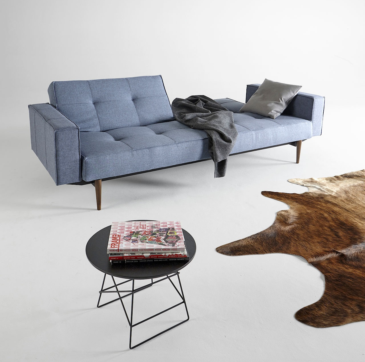 Splitback Convertible Sleeper Sofa. Split Back Deluxe Blue Sofa Bed With  Arms