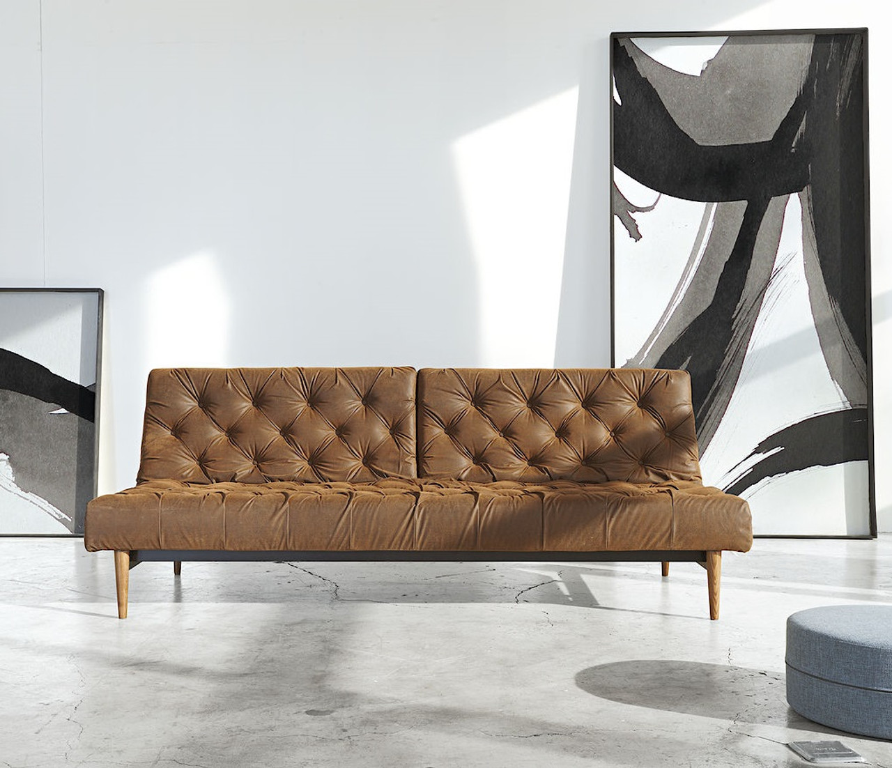 Oldschool Vintage Leather Chesterfield Sofa Bed Zin Home
