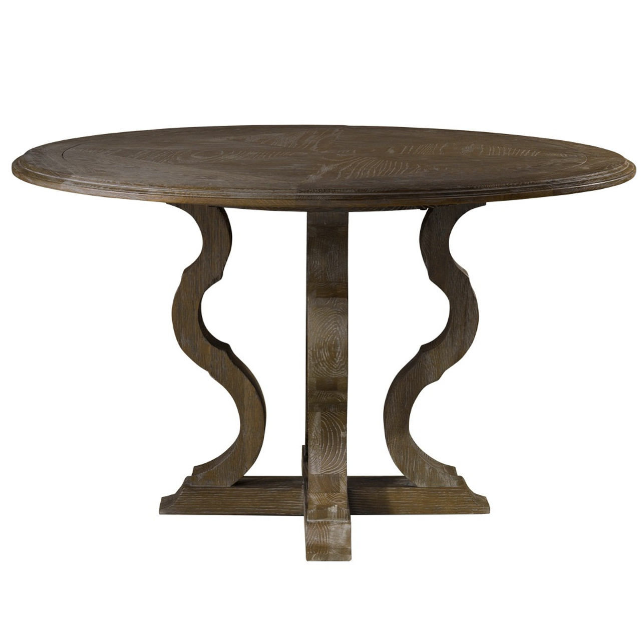 French Grey Oak Wood Round Pedestal Dining Table Zin Home - 50 inch round pedestal table