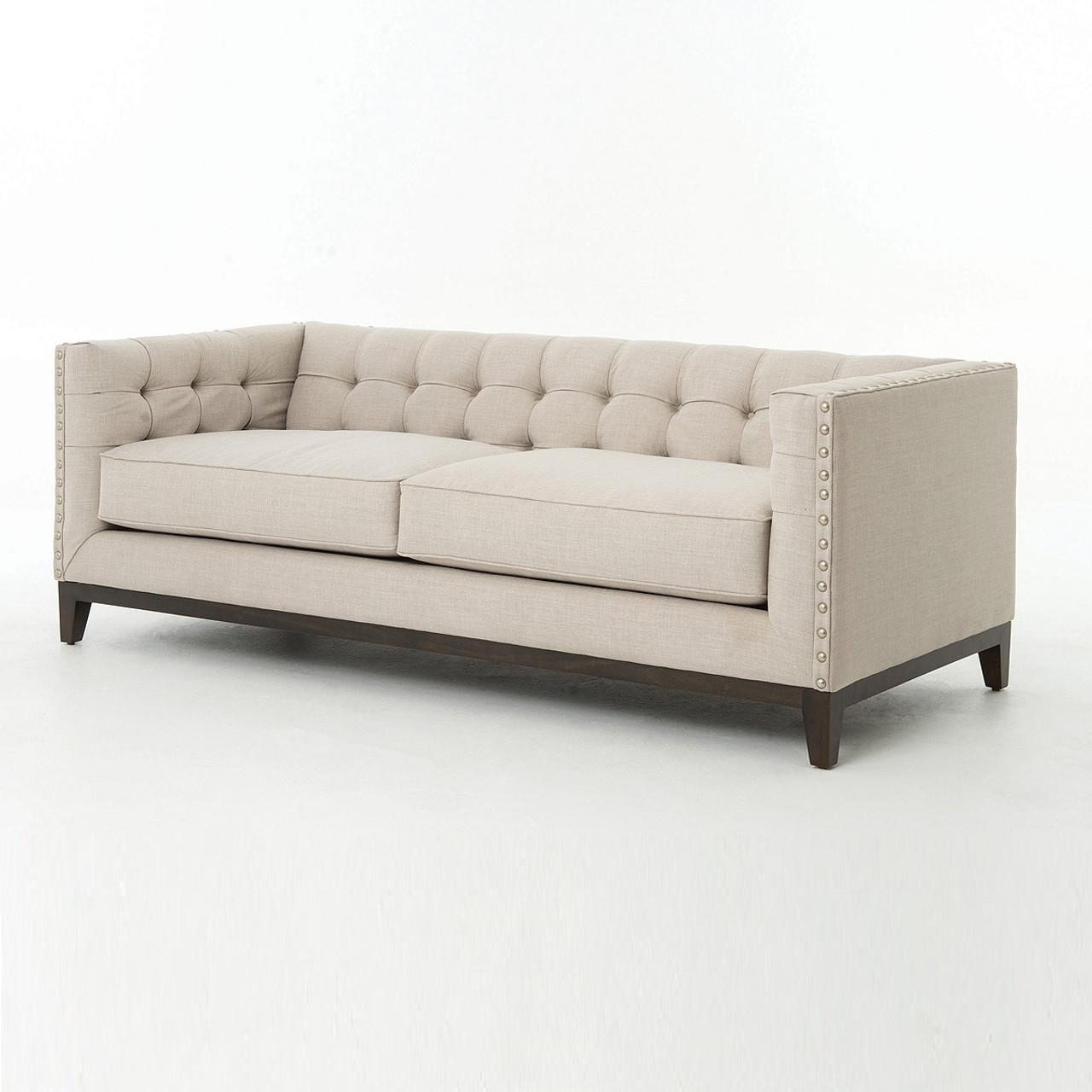 Greenwich Modern Tufted Linen Nailhead Sofa Zin Home