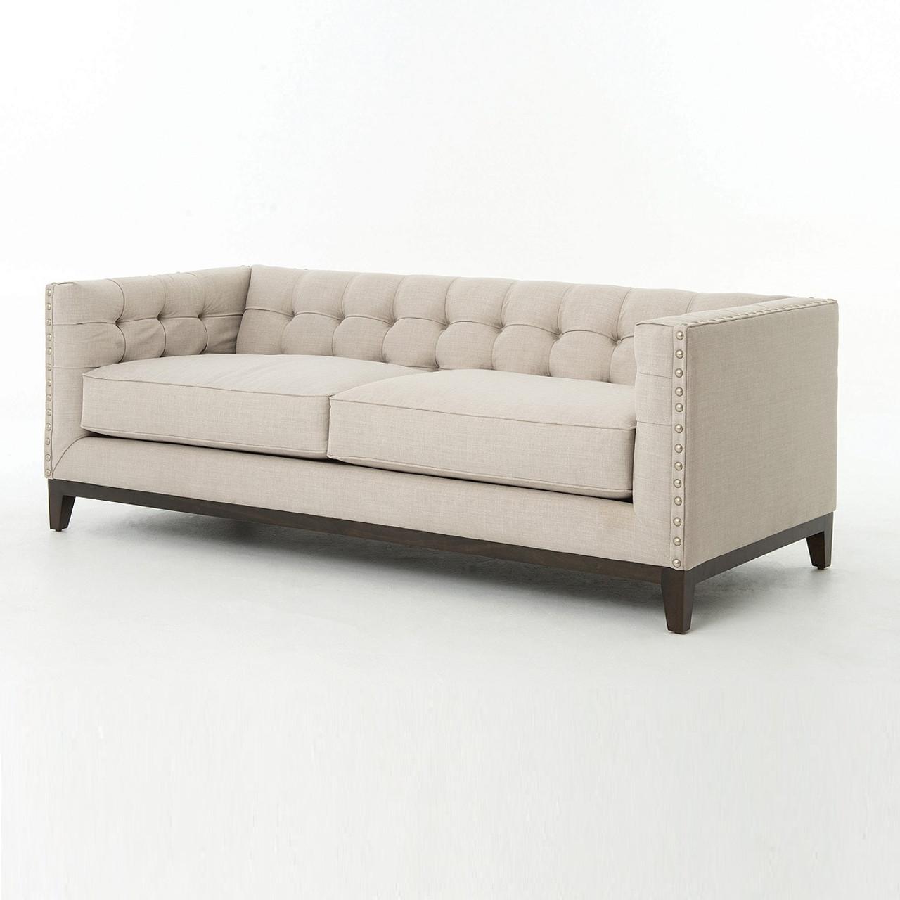 Lovely Greenwich Modern Tufted Linen Sofa. Atelier Greenwich Nailhead Sofa