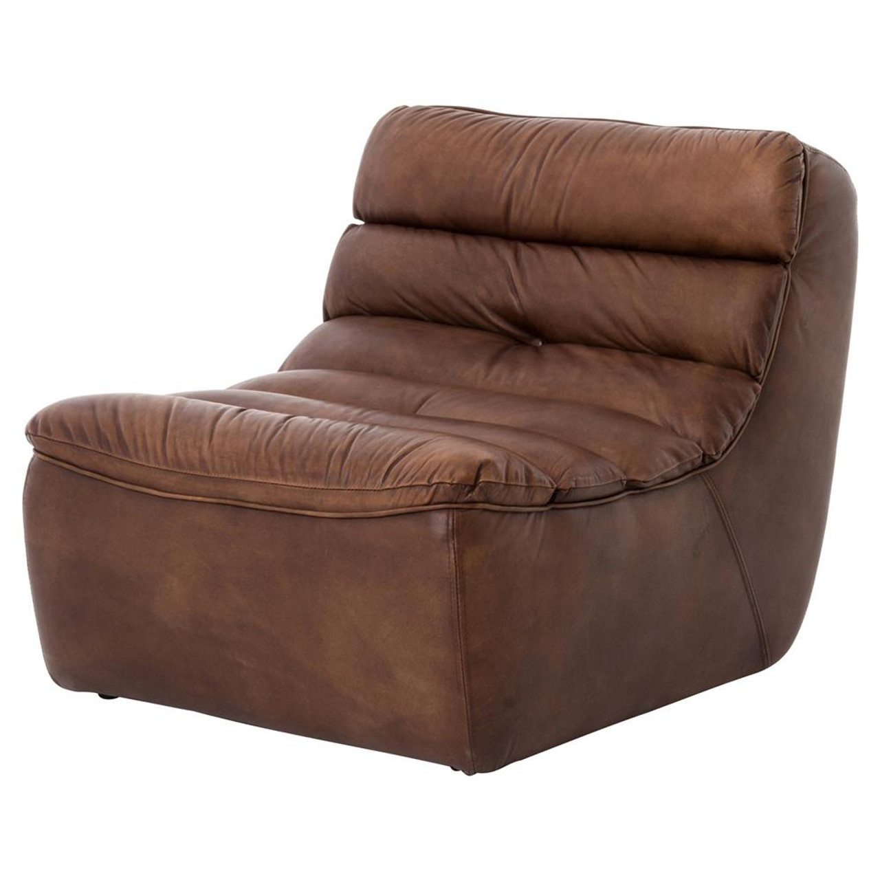 Magna Antique Whiskey Leather Armless Chair