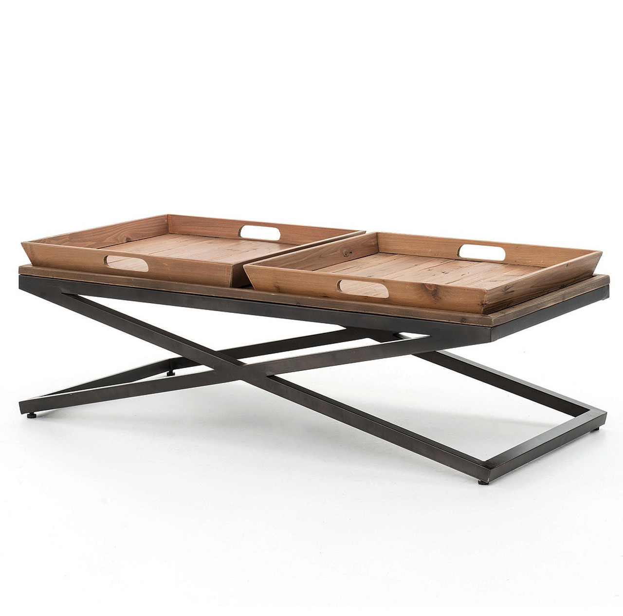 Jax X Base Industrial Rectangular Coffee Table With Tray