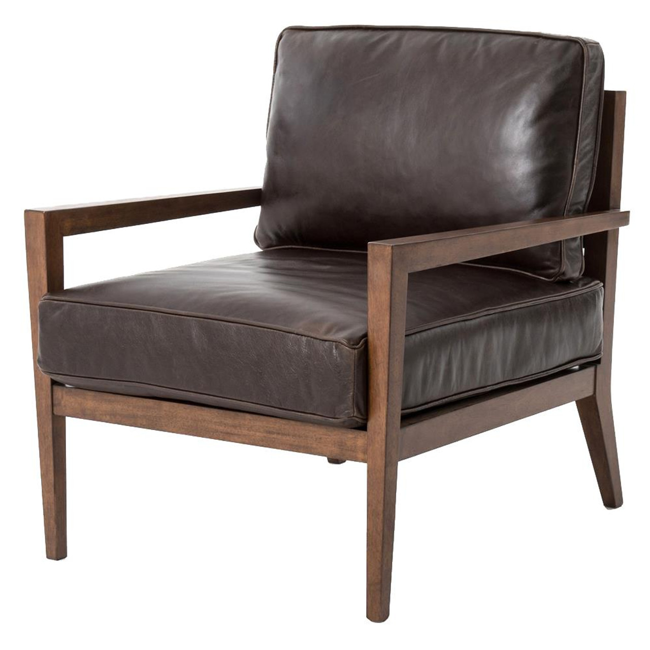 wood frame accent chairs. Laurent Wood Frame Brown Leather Accent Chair Chairs E