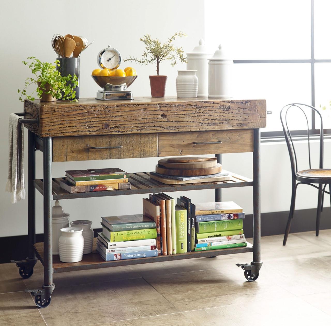 Industrial reclaimed wood kitchen island cart free standing kitchen island
