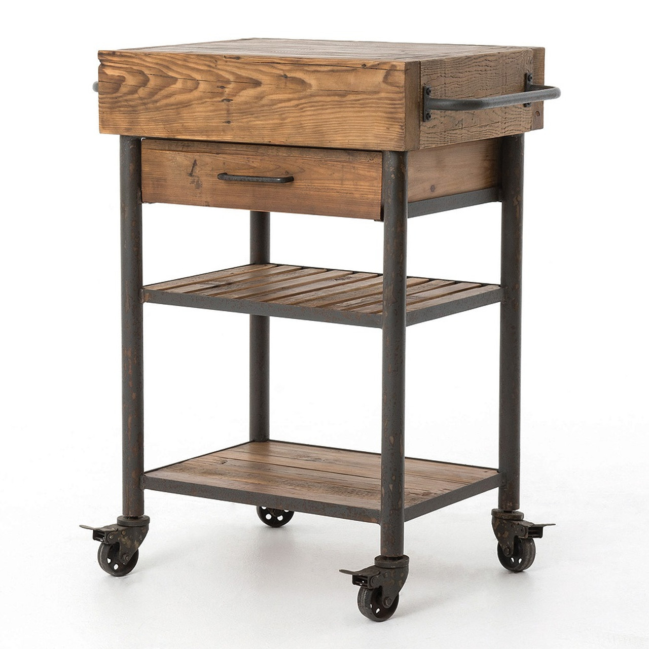 Bon Industrial Reclaimed Wood Rolling Kitchen Island Cart