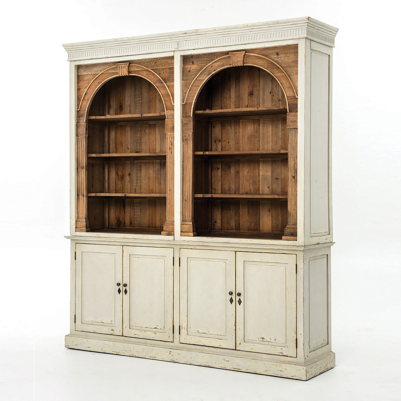 Attractive Swedish Grey Rustic Reclaimed Wood China Cabinet Hutch