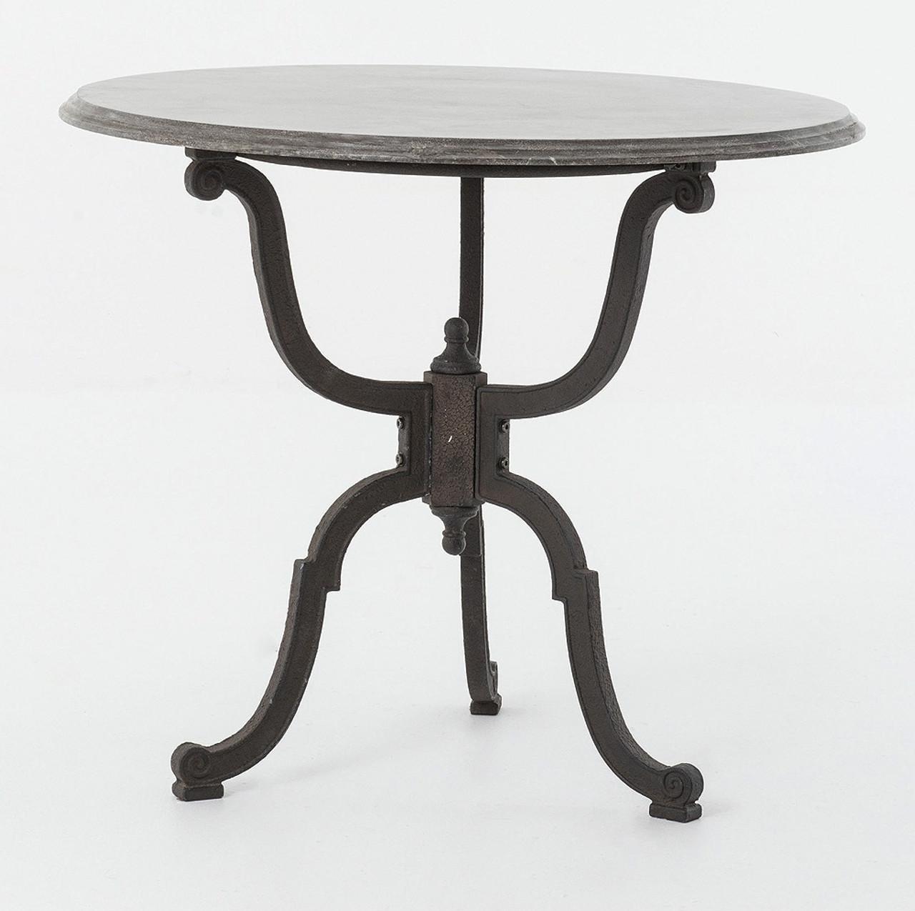 Attirant French Industrial Iron + Bluestone Bistro Round Pedestal Table