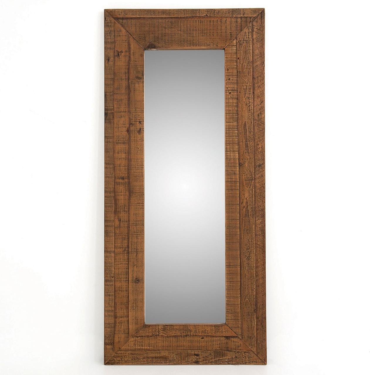 Farmhouse Rustic Reclaimed Wood Large Floor Mirror | Zin Home