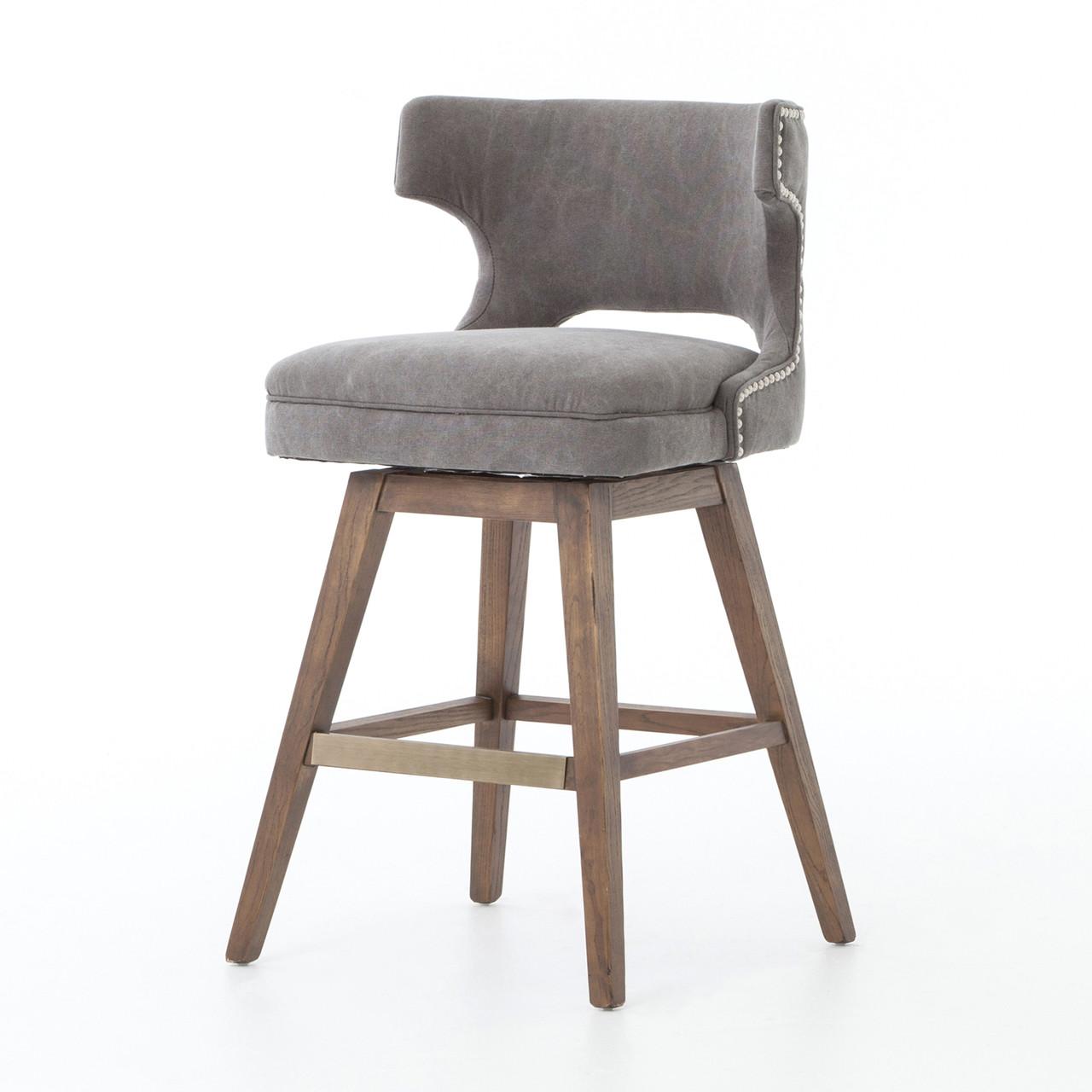 gray counter stools. Task Dark Gray Upholstered Nailhead Wing Counter Stool Stools T