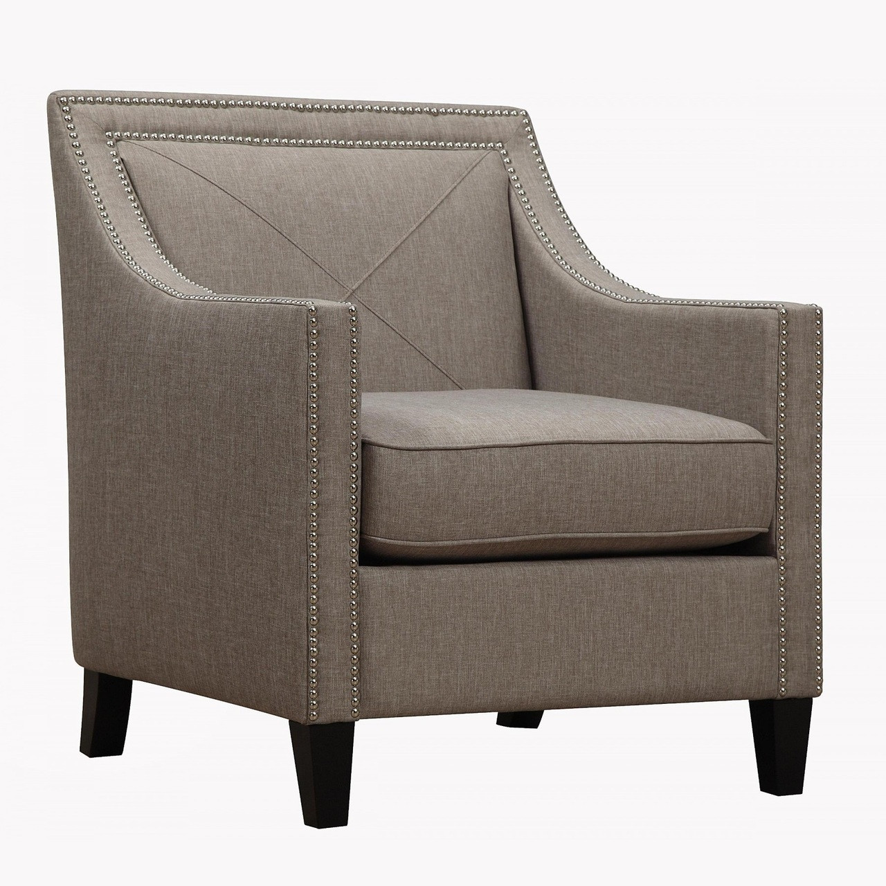 Asheville Light Grey Upholstered Linen Arm Chair