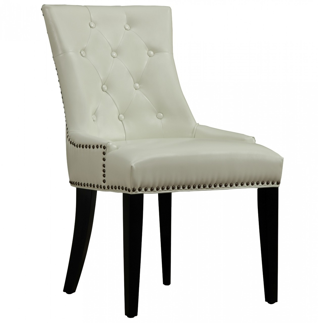 Uptown Tufted Cream Leather Dining Chair Zin Home