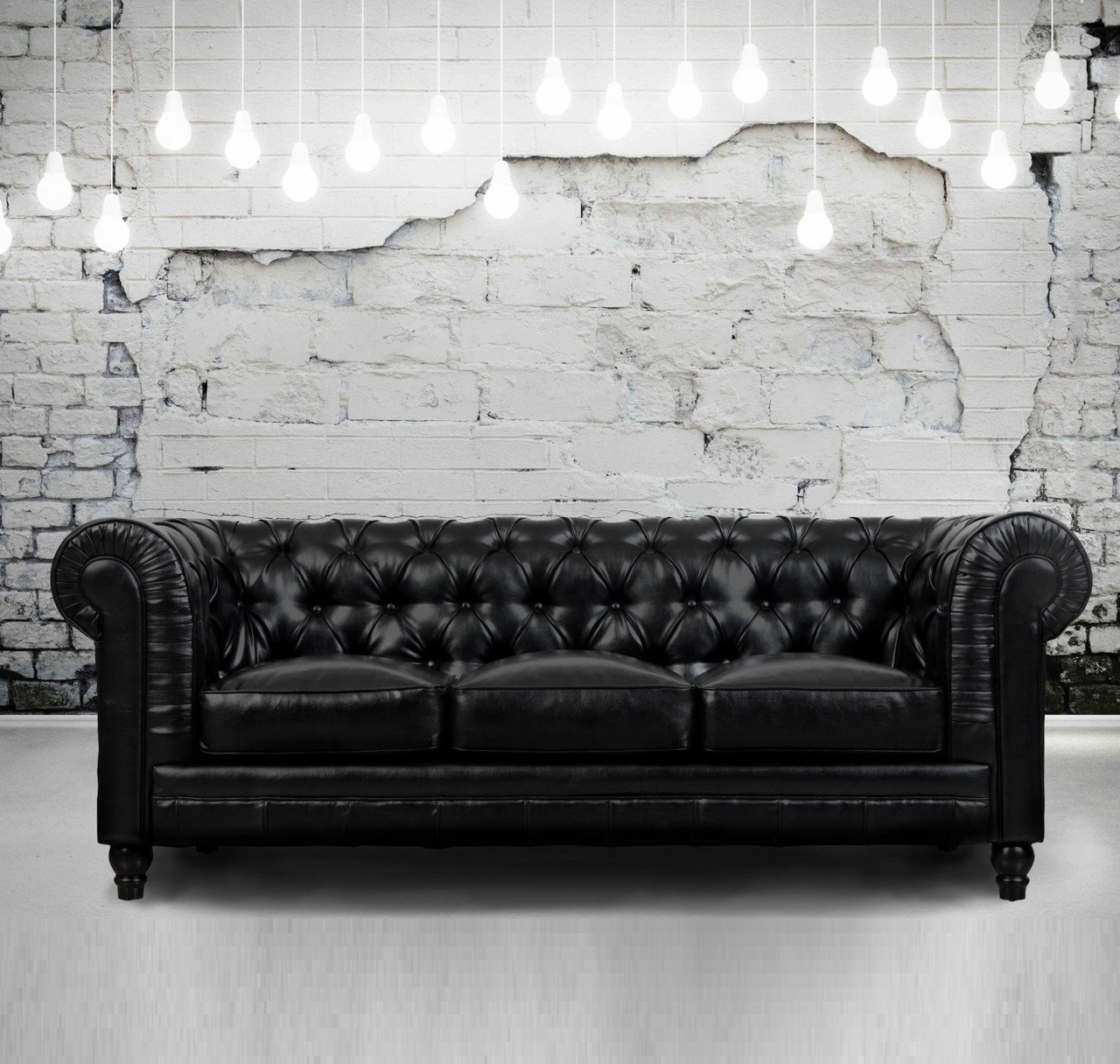 Zahara Tufted Black Leather Chesterfield Sofa | Zin Home