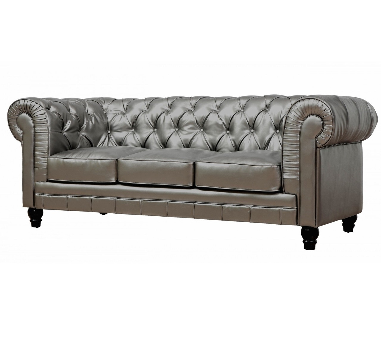 Zahara Silver Leather Tufted Chesterfield Sofa