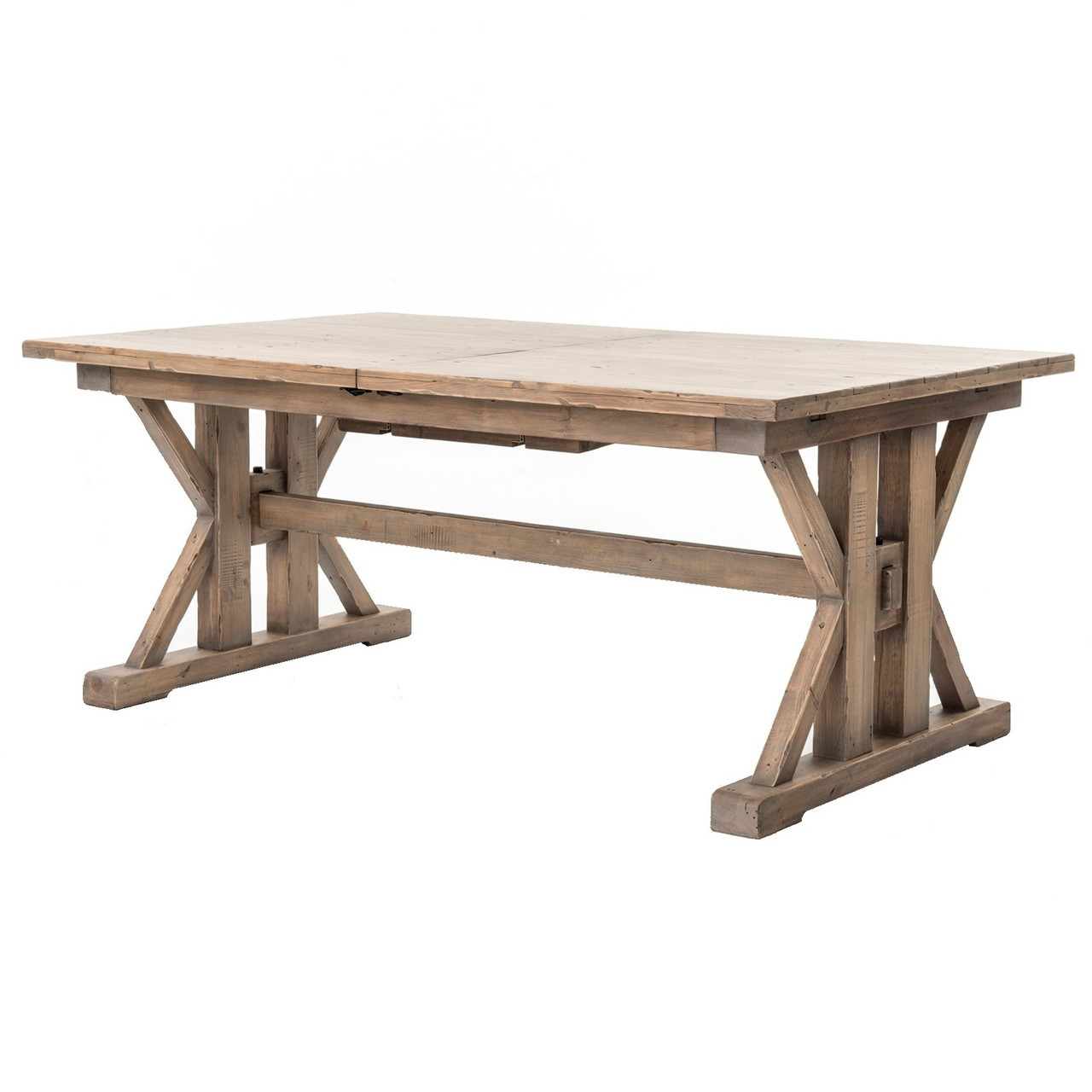 Coastal Natural Wood Trestle Extension Dining Table 96 ...