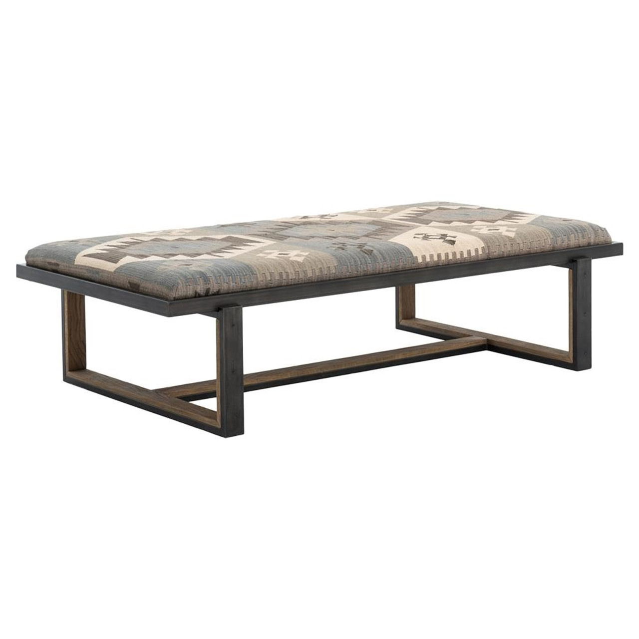 Eclectic Iron And Kilim Upholstered Coffee Table Ottoman Cird W9