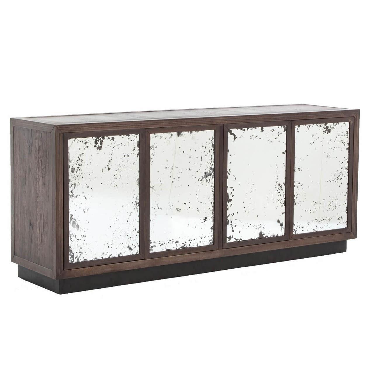 Vaughn Oak Wood Media Cabinet With Mirrored Doors Zin Home