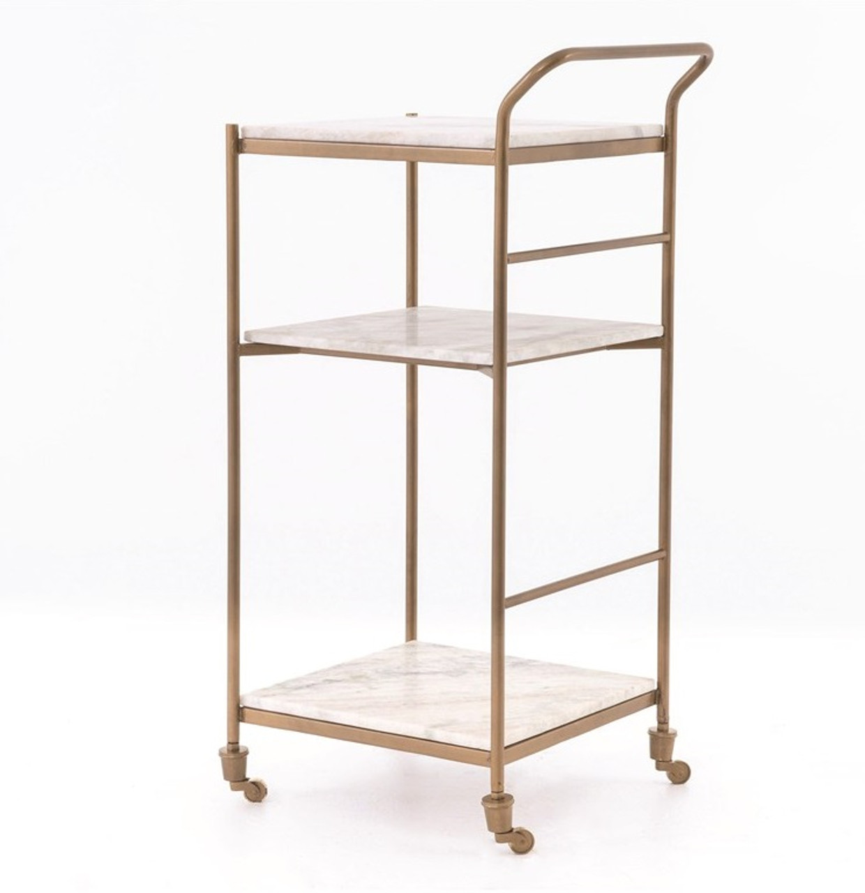 Felix Antique Brass And Marble Slim Bar Cart