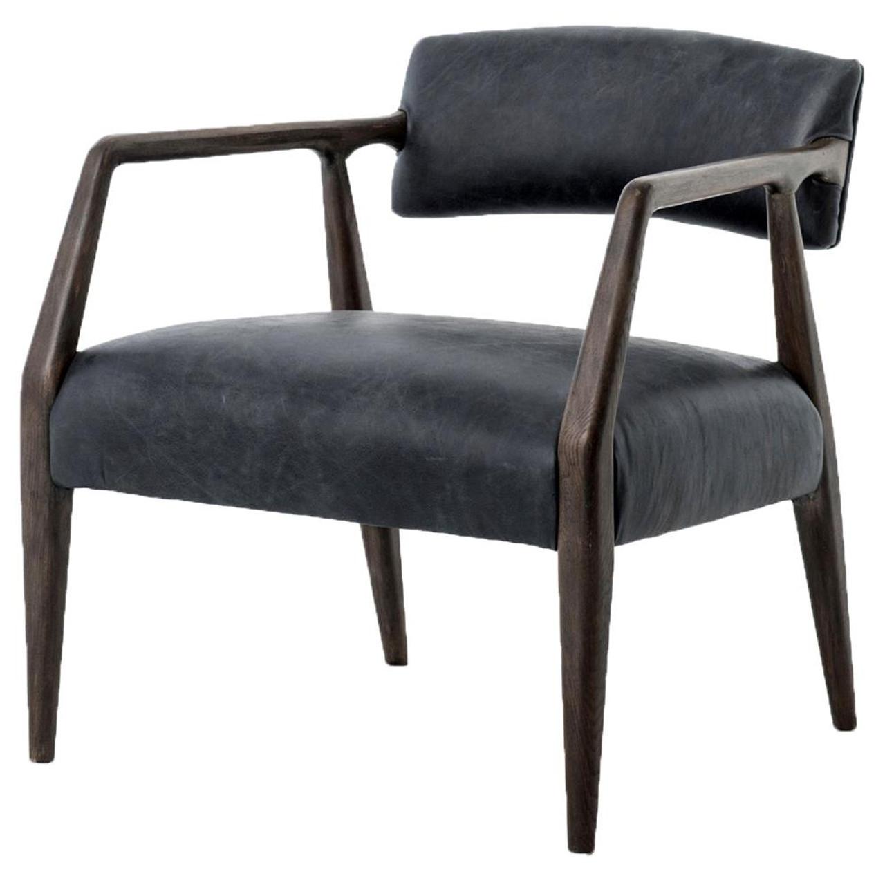 Tyler Mid Century Modern Dark Oak Ebony Leather Arm Chair