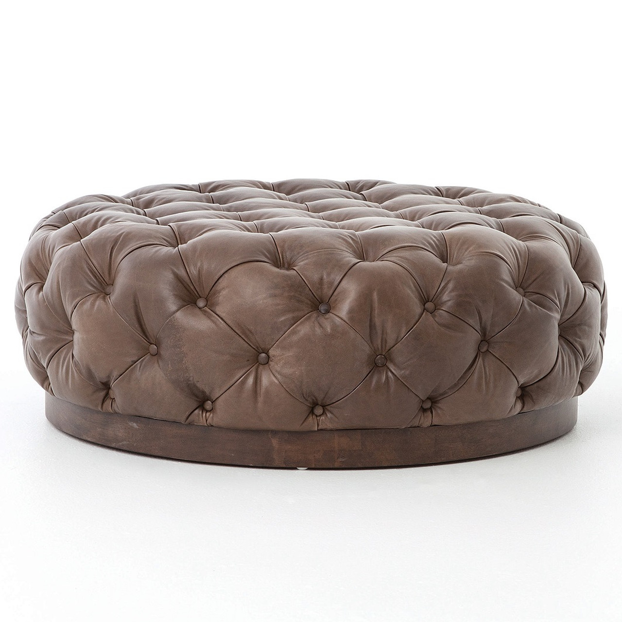 round leather ottoman. Plateau Round Tufted Leather Cocktail Ottoman