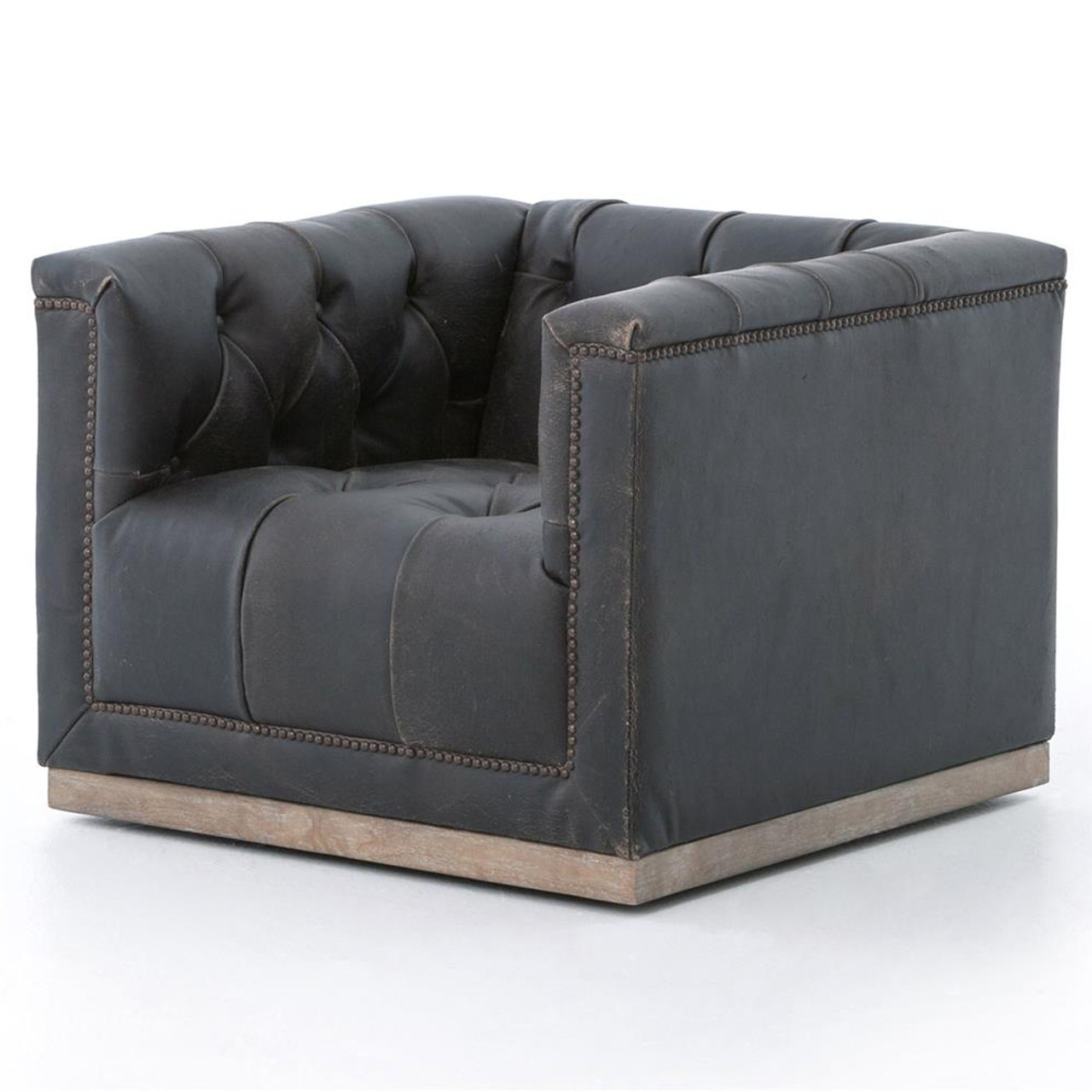 Marvelous Maxx Distressed Black Leather Swivel Club Chair