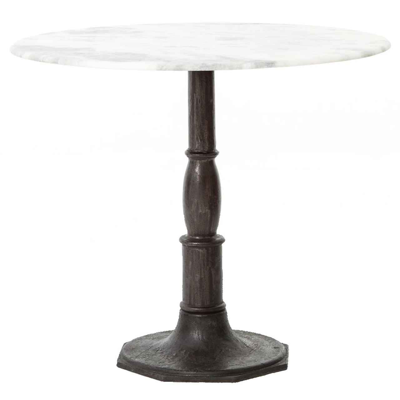 Incroyable French Industrial White Marble Top Round Bistro Table
