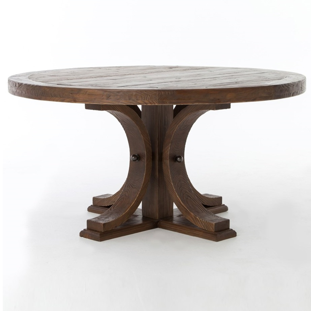 Lugo Reclaimed Wood Round Pedestal Dining Table Zin Home - 60 inch reclaimed wood dining table