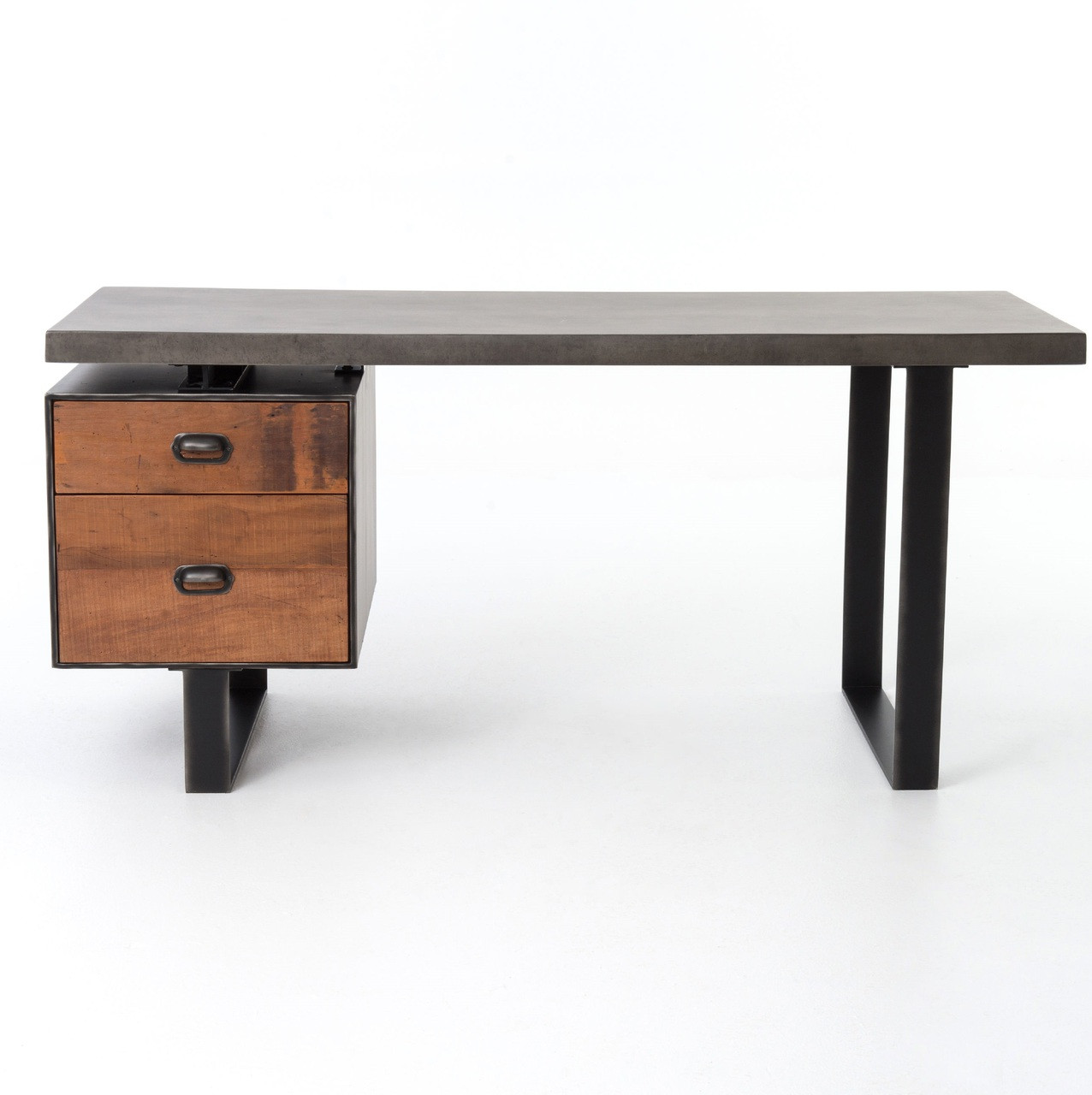 concrete and wood furniture. Clapton Industrial Concrete + Wood Desk With File Drawer And Furniture G