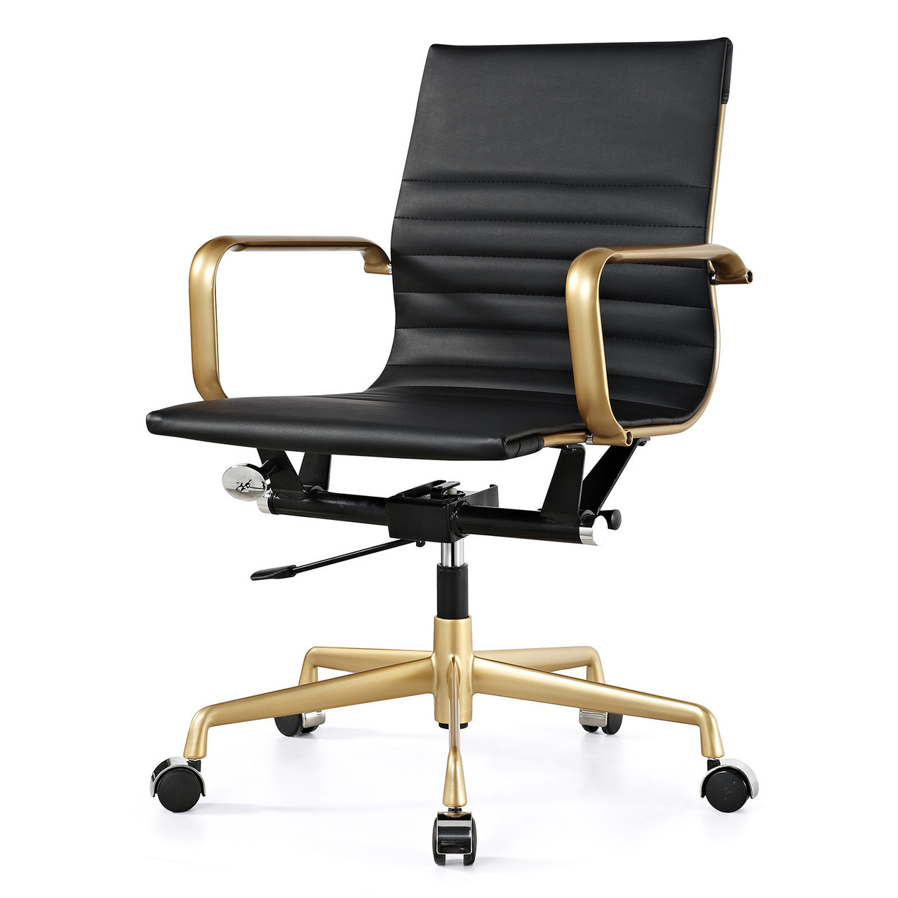 Gold And Black Vegan Leather M348 Modern Office Chairs ...