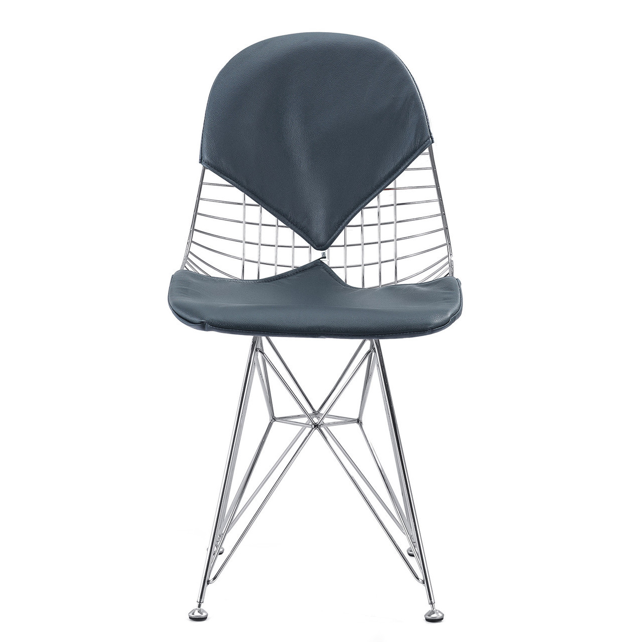 Navy Italian Leather M245 Modern Wire Chair