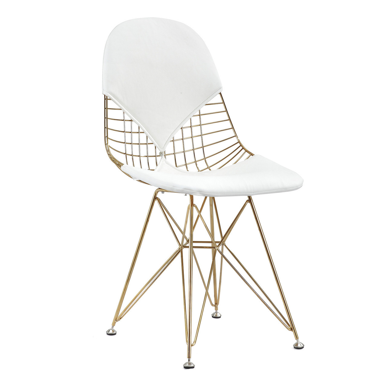 Gold Wire White Leather M245 Modern Wire Chair Zin Home