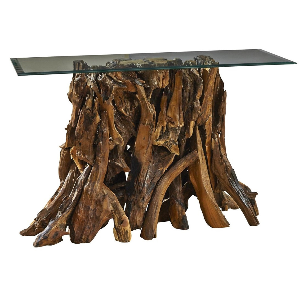 Teak Root Console Table With Glass Top Zin Home
