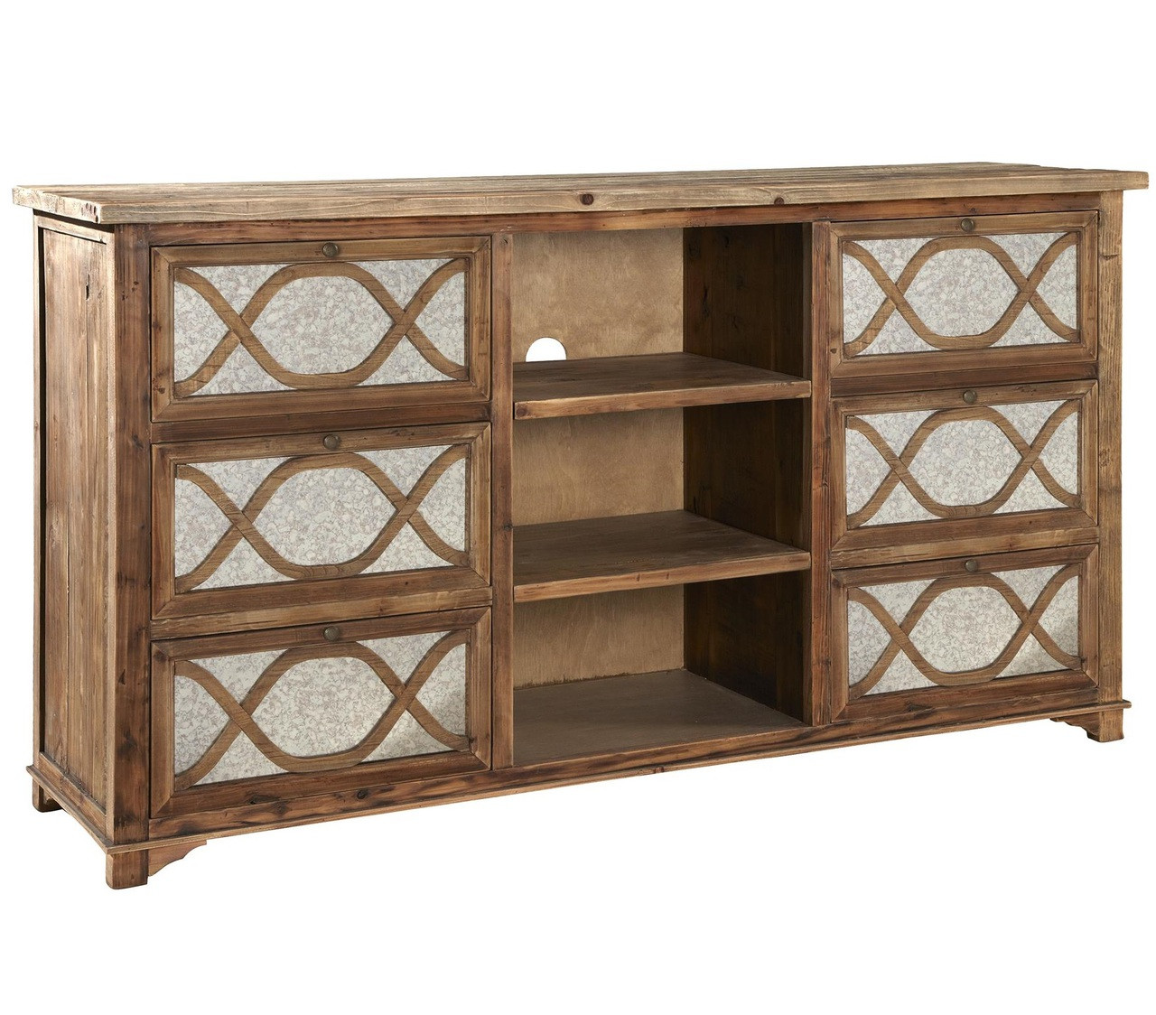 wood and mirrored furniture. Interesting And French Lattice Reclaimed Wood Mirrored Media Cabinet For And Furniture A