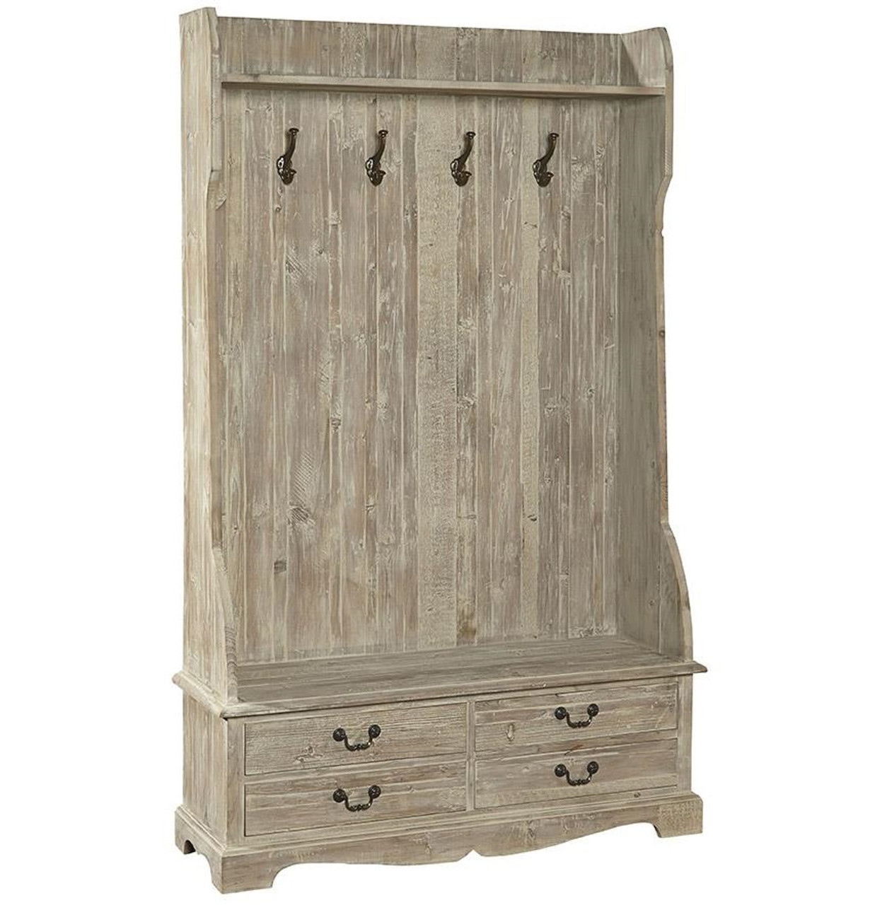 French Country Rustic Entry Storage Bench with Coat Rack  sc 1 st  Zin Home & French Country Rustic Entry Storage Bench with Coat Rack | Zin Home