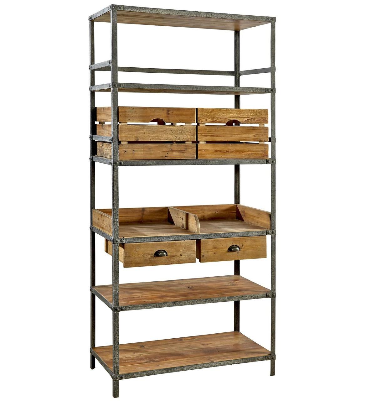Breeland Industrial Metal + Wood Bookcase With Storage Bins