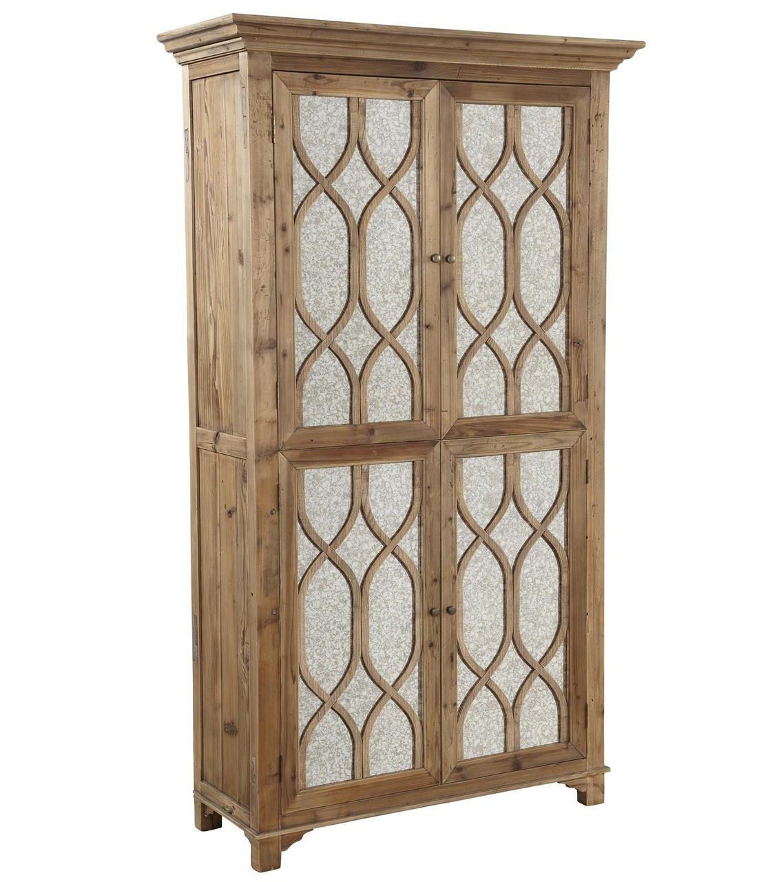 French Lattice Reclaimed Wood 2 Door Mirrored Cabinet Zin Home