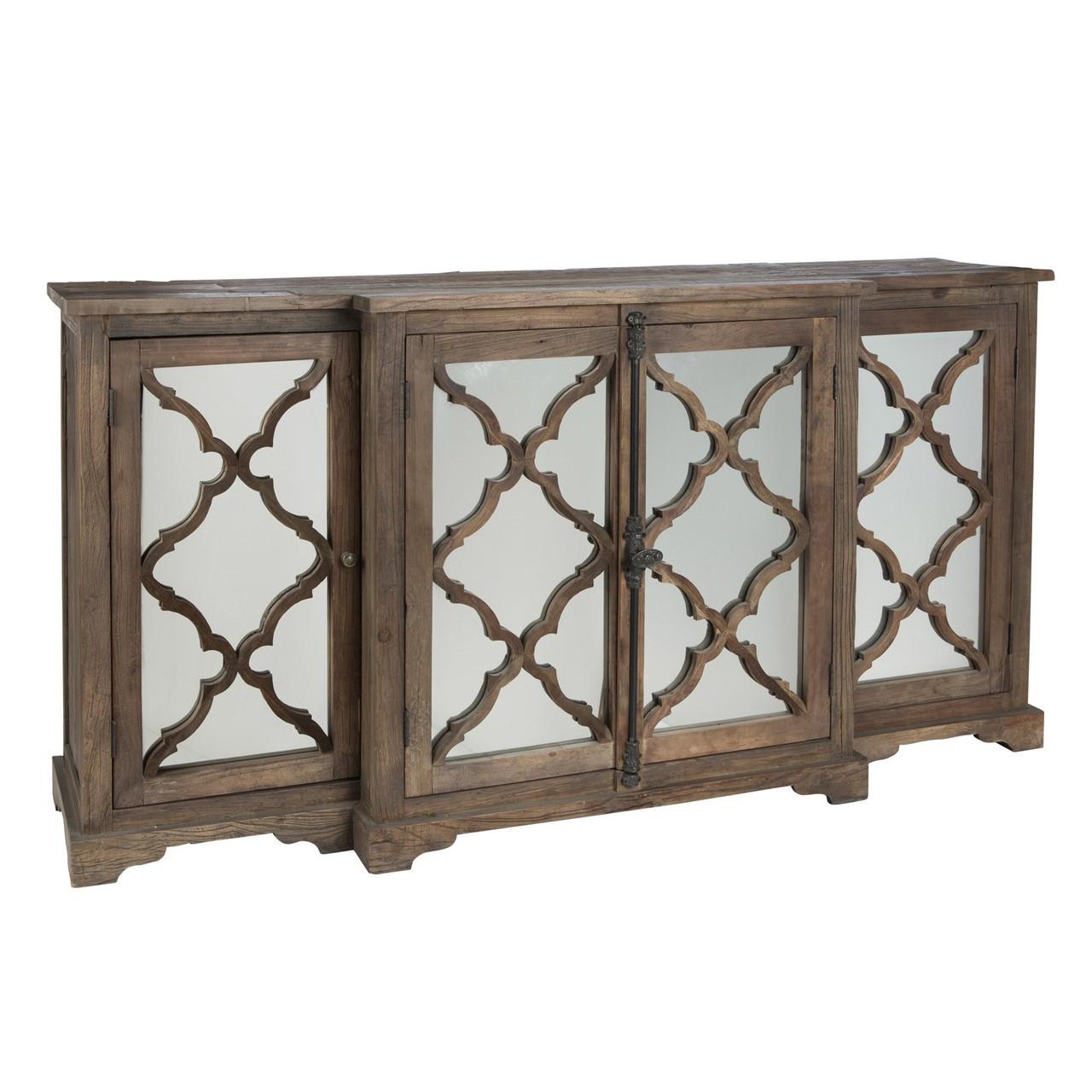 Aidan Gray Furniture Lowery Buffet Sideboard with 4 Glass Paneled Door  sc 1 st  Zin Home & Lowery Buffet Sideboard with 4 Glass Paneled Door | Zin Home