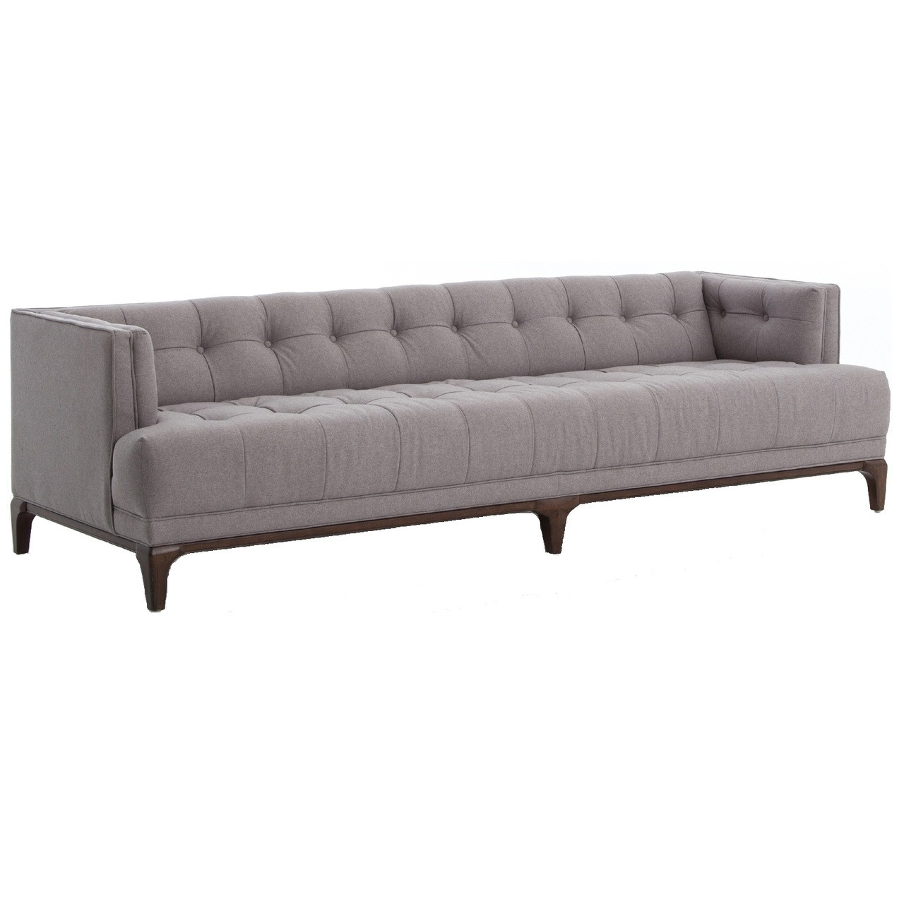 Dylan Mid Century Modern Low Back Grey Tufted Sofa