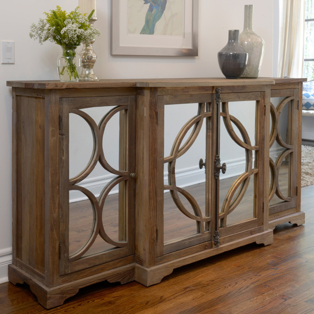 wells reclaimed elm wood mirrored sideboard buffet zin home rh zinhome com Antique Oak Sideboard with Mirror Mirror Sideboard Cabinet